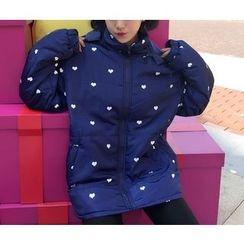 Eva Fashion - Heart Hooded Padded Coat