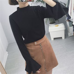 Eva Fashion - Plain Bell-Sleeve Top