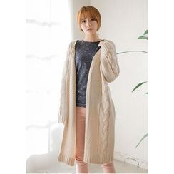 GOROKE - Open-Front Cable-Knit Long Cardigan