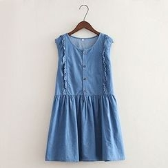 ninna nanna - Frilled Trim Sleeveless Denim Dress