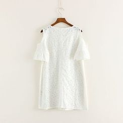 Mushi - Short-Sleeve Lace Shoulder Cut Out Dress