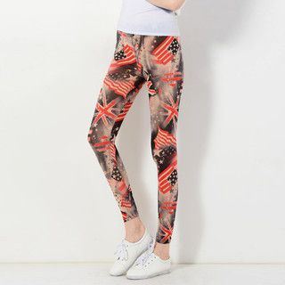 YesStyle Z - Mixed Flag Print Leggings