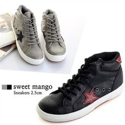 SWEET MANGO - Star-Appliqué Textured High-Top Sneakers