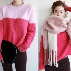 NIPONJJUYA - Two-Tone Wool Blend Cable-Knit Sweater