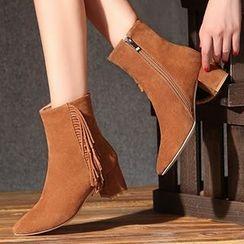Gizmal Boots - 粗跟侧拉链流苏及踝靴