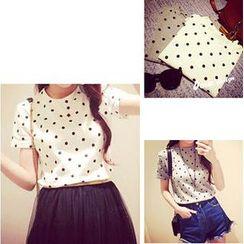 Kikiyo - Short Sleeves Dotted T-shirt