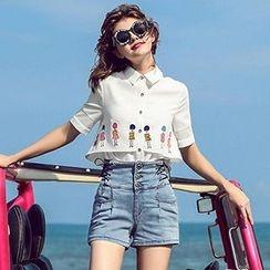 MIUCO - Set: Printed Short Sleeve Shirt + Side Lace Up Shorts