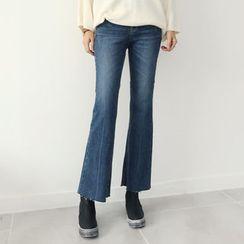 DANI LOVE - Fray-Hem Washed Boot-Cut Jeans