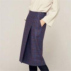 MAGJAY - Flap-Front Checked Midi Skirt
