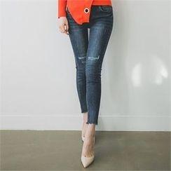 ERANZI - Scallop-Hem Distressed Skinny Jeans