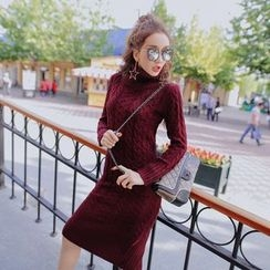 Tang House - Turtleneck Cable-Knit Dress