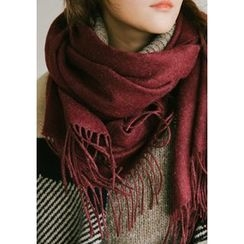 GOROKE - Fringed Wool Blend Long Scarf