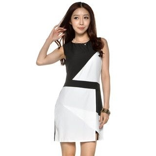 YesStyle Z - Color-Block Sleeveless Dress