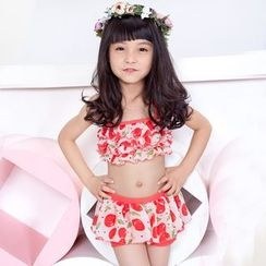 Charmaine - Kids Set: Ruffle Swim Top + Skirt + Hooded Cover Top