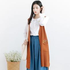 Forest Girl - 花形刺绣长款针织马甲