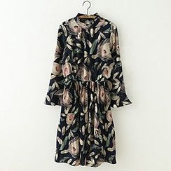 Meimei - Long-Sleeve Floral Chiffon Dress