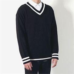 MITOSHOP - V-Neck Contrast-Trim Knit Top