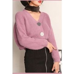 PPGIRL - V-Neck Furry-Knit Cardigan