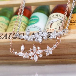 Zundiao - Sterling Silver Rhinestone Floral Necklace