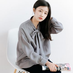 Forest Girl - Bow Long-Sleeve Blouse