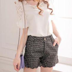 Tokyo Fashion - Scalloped-Hem Floral Lace Shorts