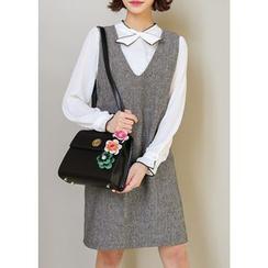 J-ANN - Sleeveless Wool Blend Shift Dress