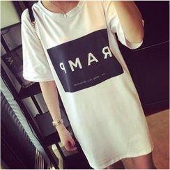 Kikiyo - Oversized Short Sleeves Lettering T-shirt