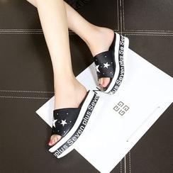 Hannah - Star Lettering Platform Slide Sandals