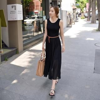 CLICK - Sleeveless Knit-Panel Pleated Dress with Belt
