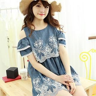 Dodostyle - Cutout-Shoulder Embroidered Layered Denim Tunic