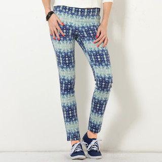 YesStyle Z - Elastic-Waist Patterned Slim-Fit Pants