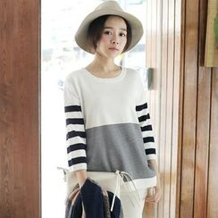 Tokyo Fashion - Striped 3/4-Sleeve Knit Top