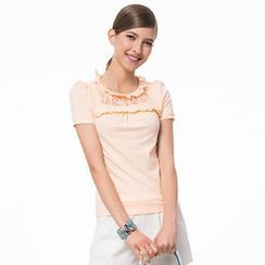 O.SA - Short-Sleeve Lace Panel Top