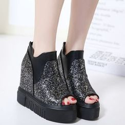 Anran - Sequined Peep Toe Platform Wedge Ankle Boots