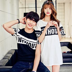 LYSTUN - Couple Matching Lettering Short-Sleeve T-Shirt