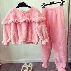 Happy Bird - Pajama Set: Frilled-Trim Top + Pants