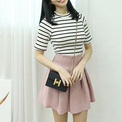 Dodostyle - High-Waist Pleated A-Line Skirt