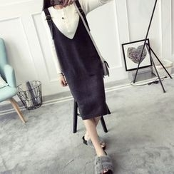 Qimi - V-Neck Knitted Pinafore Dress
