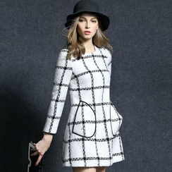 Queen Mulock - Long-Sleeve Plaid Tweed Dress