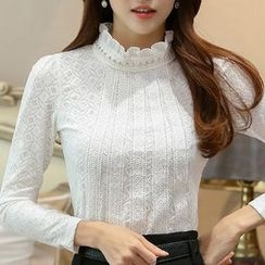 Eferu - Frilled Neck Lace Long-Sleeve Top