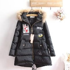 akigogo - Hooded Applique Down Coat