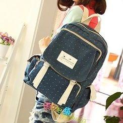 Canvas Love - Polka Dot Printed Canvas Backpack