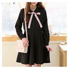 Sechuna - Tie-Front A-Line Dress
