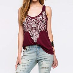 Richcoco - Lace Panel Tank Top