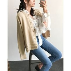 UPTOWNHOLIC - Round-Neck Wool Blend Cardigan
