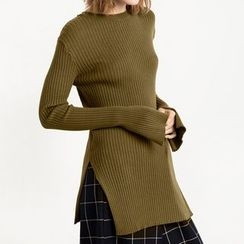 Obel - Side Slit Long Sleeve Knit Top