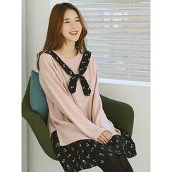 LOLOten - Set: Inset Scarf Top + Sleeveless Floral Pattern Dress