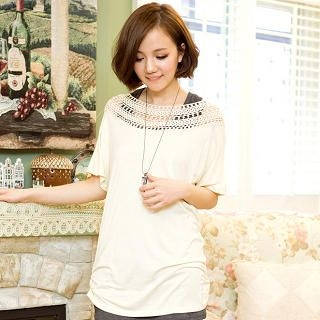 CatWorld - Crochet-Neckline Ruched Long Top