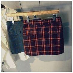 Glovon - Plaid Woolen A Line Skirt