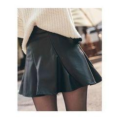 Chlo.D.Manon - Faux-Leather Mini Flare Skirt